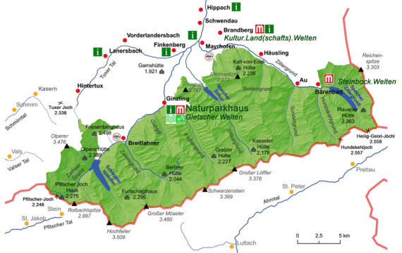 Naturpakkarte Zillertal, Wanderweg, Natur wandern